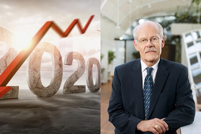 Kollage illustration som visar en pil och syftar till lågkonjunktur 2020 och Riksbankschefen Stefan Ingves