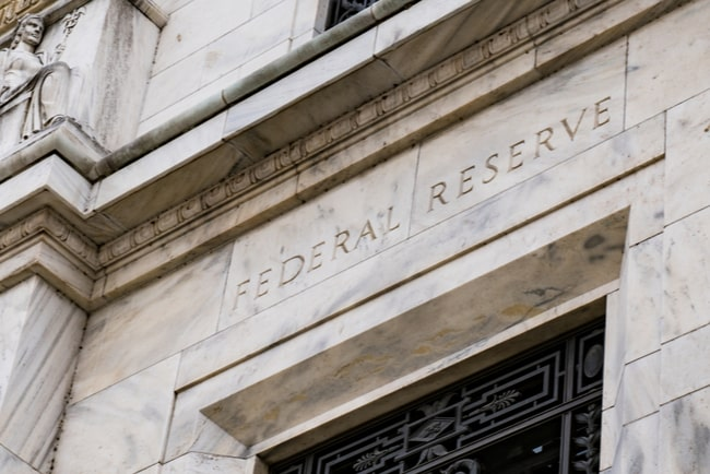 Ingången till amerikanska centralbanken Federal reserve.