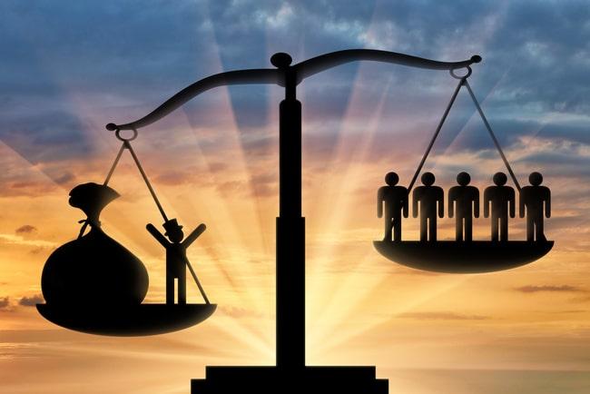 Våg som illustrerar de ekonomiska klyftorna i samhället.