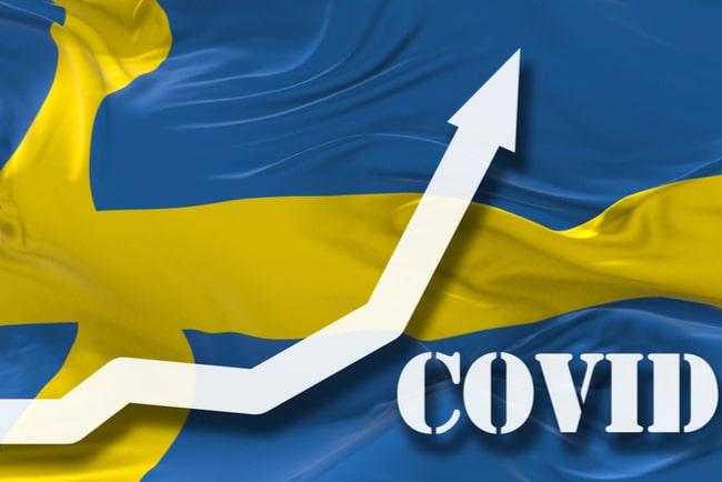 svensk flagga med en vit pil och text covid i nedre högra hörnet.